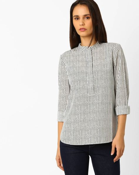 Striped Top With Mandarin Collar By Wills Lifestyle ( Black )