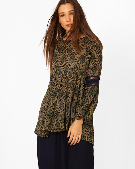 Panelled Tunic With Bell Sleeves By Rena Love ( Khaki )
