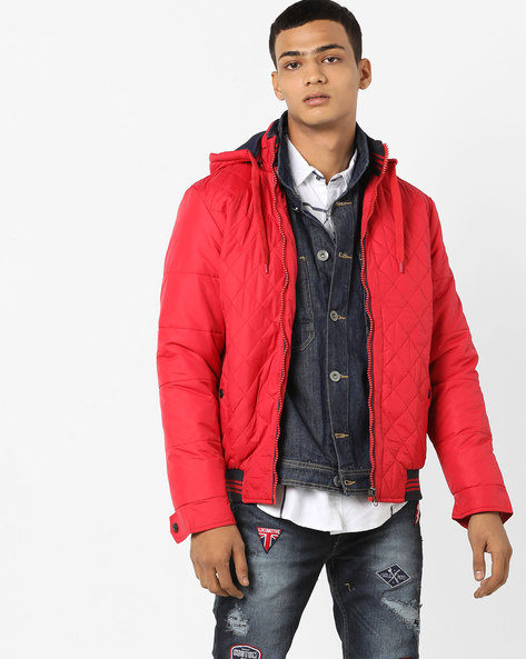 Quilted Hooded Bomber Jacket By Fort Collins ( Red )
