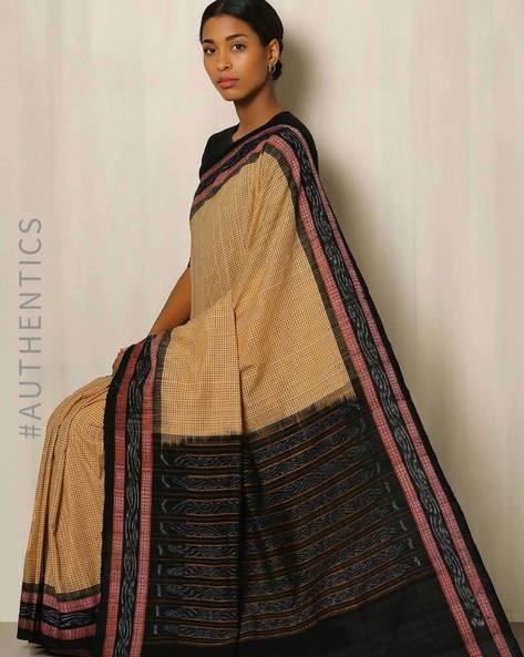 Handwoven Sambalpuri Ikat Cotton Saree By GoCoop ( Beige )