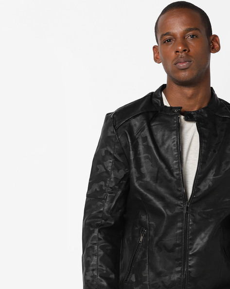 Camouflage Print Slim Fit Biker Jacket By The Indian Garage Co ( Black )