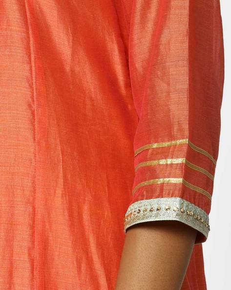 Churidar Kurta With Contrast Dupatta Set By AJIO ( Coral )