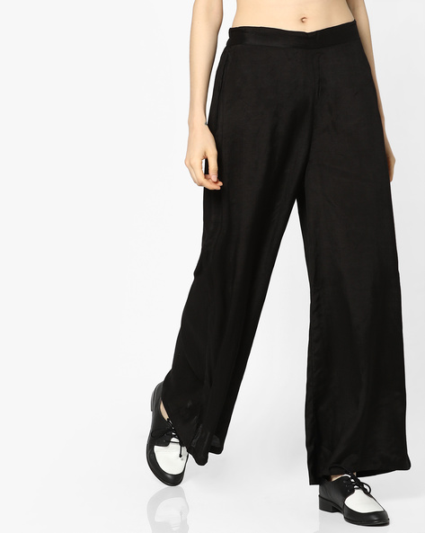 Palazzo Pants With Elasticated Waist By Melange By Lifestyle ( Black )