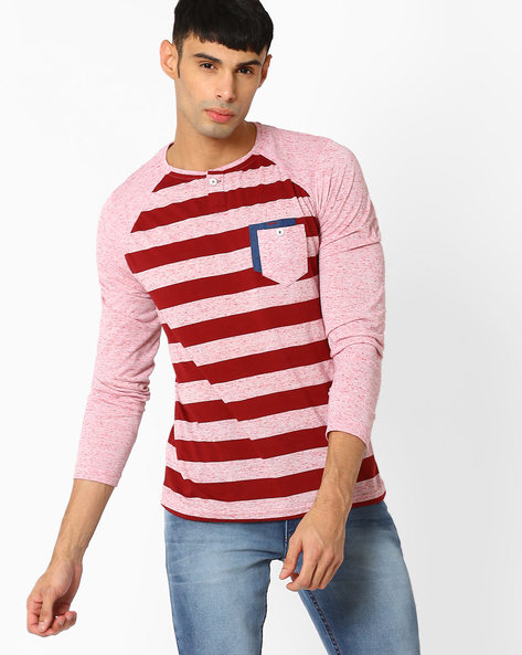 Striped Henley T-shirt With Raglan Sleeves By Fort Collins ( Maroon )