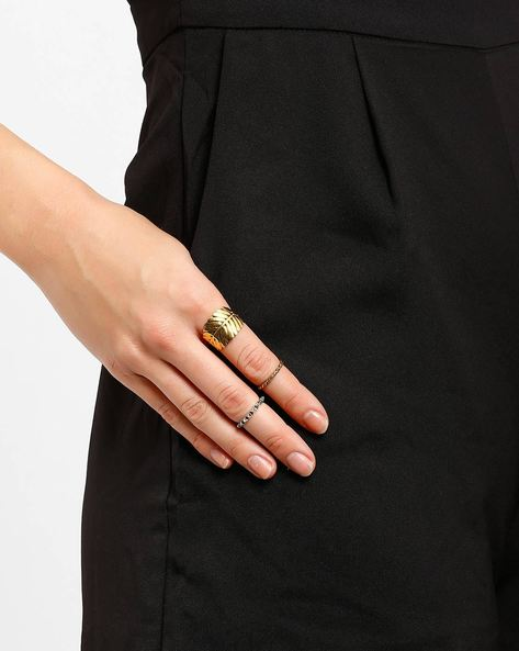 Set Of 3 Stackable Rings By AJIO ( Gold )