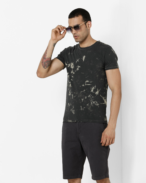 Crew-Neck Slim T-shirt With Washed Effect By Jack & Jones ( Black )