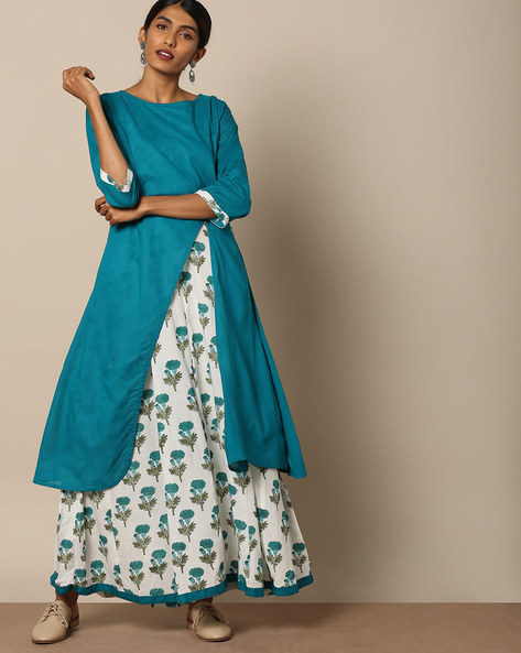 Cotton Layered Maxi Dress By Miar Designs ( Multi )