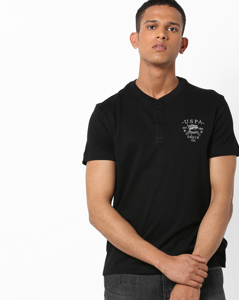 Henley T-shirt With Embroidered Branding By US POLO ( Black )