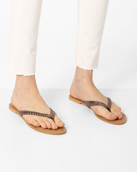 Thong-Style Flats With Braided Design By AJIO ( Pewter )