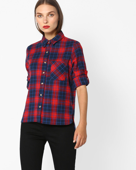 Checked Shirt With Roll-Up Sleeves By AJIO ( Red )
