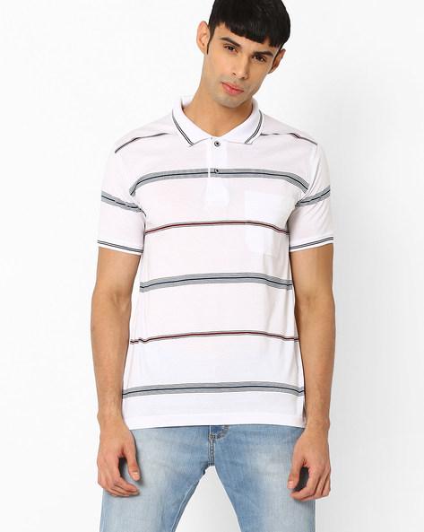 Striped Polo T-shirt By DUKE ( White )