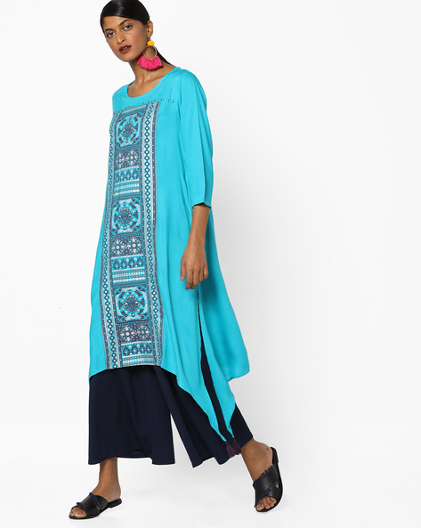 Printed Kurta With Dipped Hemline By Melange By Lifestyle ( Blue )