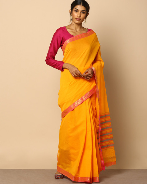 South Cotton Striped Saree With Zari Border By Indie Picks ( Orange )