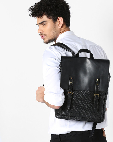 Textured Backpack With Flap Closure By GAUGE MACHINE ( Black )