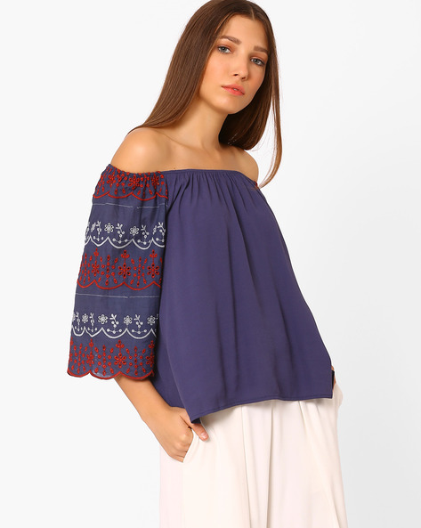 Off-shoulder Top With Embroidery By Rena Love ( Blue )