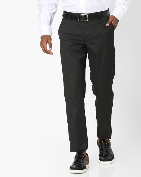Slim Fit Flat-Front Formal Trousers By NETWORK ( Black )
