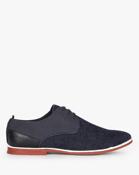 N9-Treated Textured Lace-Up Casual Shoes By AJIO ( Navy ) - 460080089003
