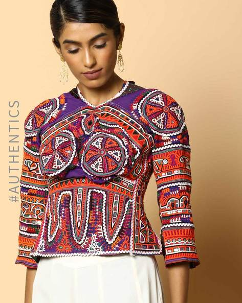 Kutch Embroidered Backless Blouse By Indie Picks ( Multi ) - 460103678001