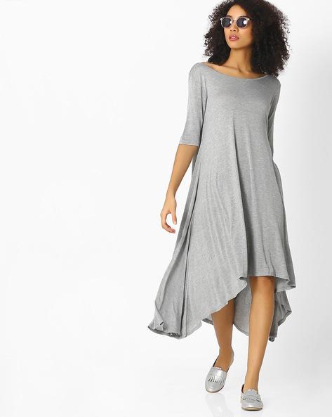 Midi Dress With High-Low Hemline By Femella ( Grey )