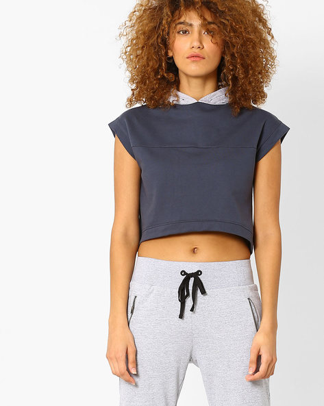 Hooded Crop Sweatshirt By AJIO ( Darkgrey )