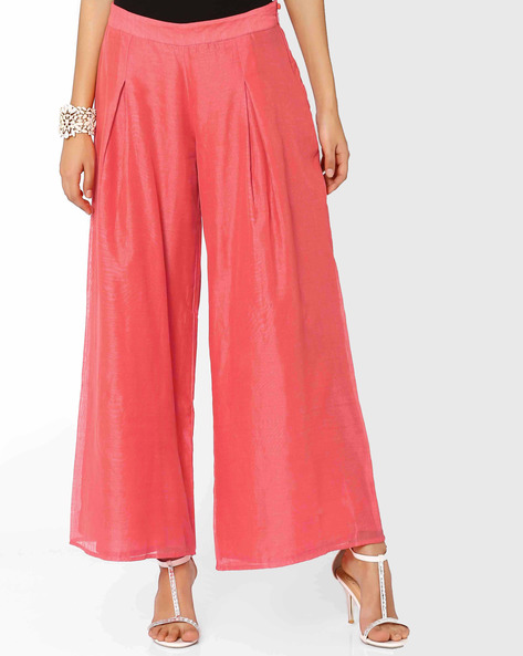 Pleated Palazzo Pants By AJIO ( Coral )