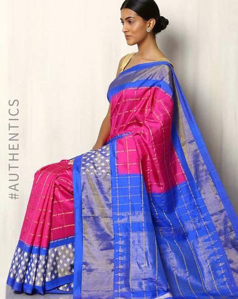 Handwoven Pure Silk Pochampally Ikat Saree By Indie Picks ( Fuchsia )