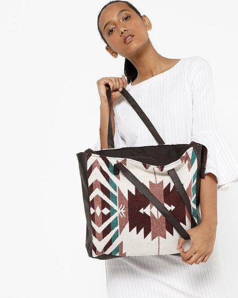 Jacquard Tote Bag By Kanvas Katha ( Multicolour )