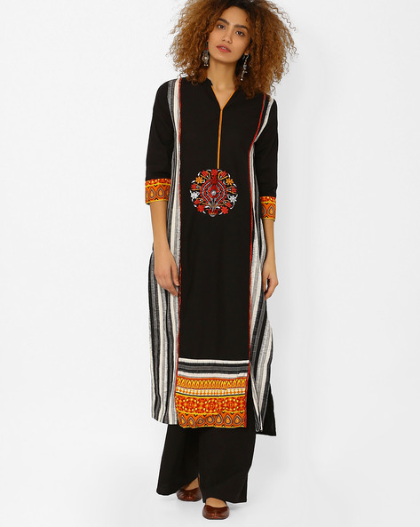 Cotton Straight Kurta With Embroidery By Kifahari ( Black )