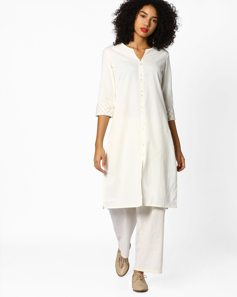 Straight Kurta With Embroidered Sleeves By AJIO ( Offwhite )