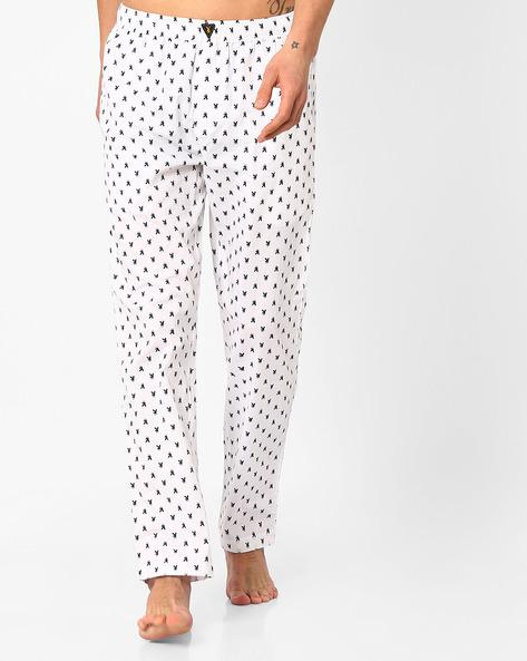 Printed Pyjamas With Elasticated Waist By Playboy ( White )