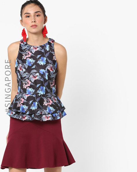 Plume Sleeveless Floral Print Peplum Top By MDS ( Black )