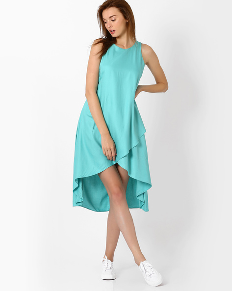 Sleeveless High-Low Dress By AJIO ( Blue )
