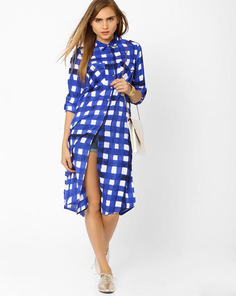 Soft Moss Checked Shirt Dress By AJIO ( Blue )