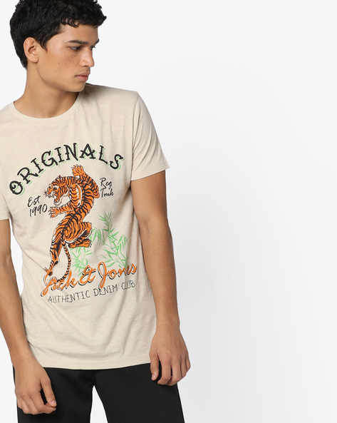 Graphic Print Slim T-shirt By Jack & Jones ( Assorted )