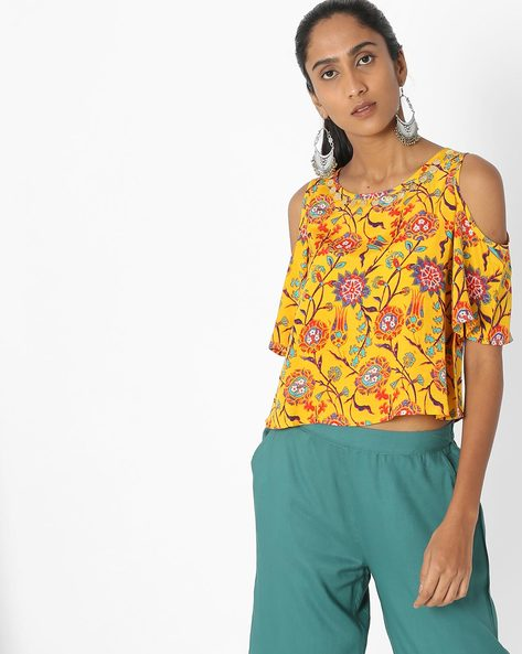 Floral Print Cold-Shoulder Crop Top By Akkriti By Pantaloons ( Yellow )