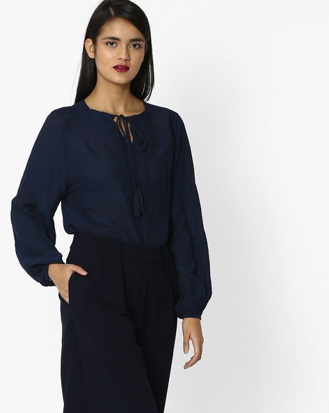 Flared Top With Tie-Up By Tokyo Talkies ( Darkblue )