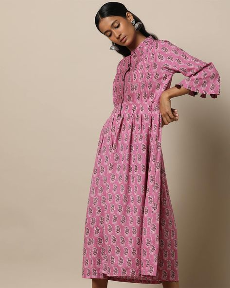 Printed Cotton Pleated Long Dress With Pintucks By Seasons ( Pink )