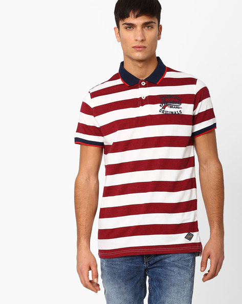Space-Dyed Striped Polo T-shirt By TEAM SPIRIT ( Red )