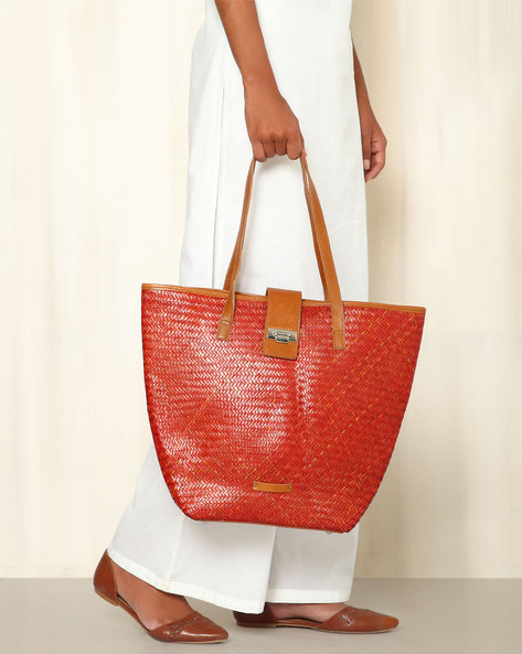 Handcrafted Natural Fibre Tote Bag By Indie Picks ( Red )