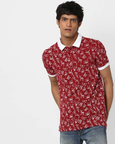 Printed Polo T-shirt With Contrast Collar By AJIO ( Red )