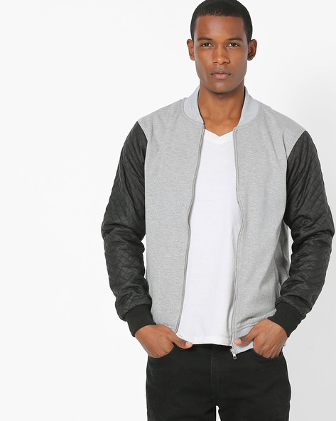 Zip-Front Jacket With Quilted Sleeves By Campus Sutra ( Grey )