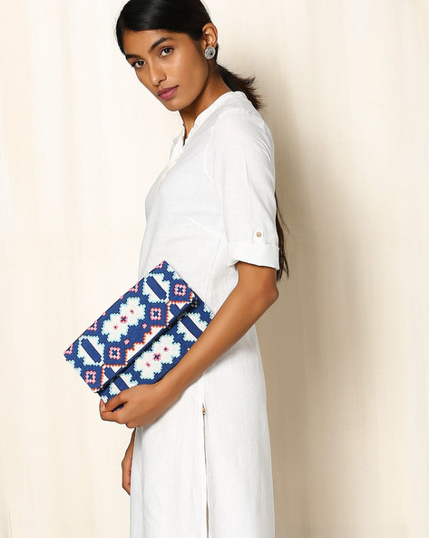 Geometric Print Canvas Sling Bag By Indie Picks ( Blue )