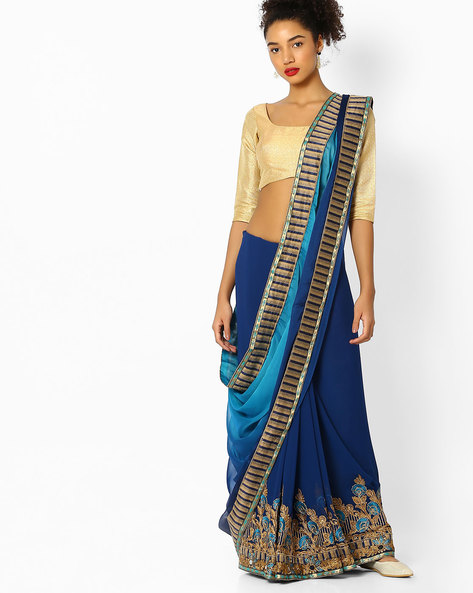 Ombre-Dyed Saree With Embroidery By Parmita ( Blue )