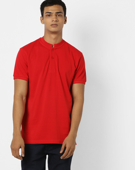 T-shirt With Mandarin Collar By AJIO ( Red )