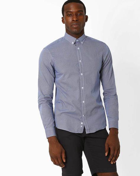 Textured Slim Fit Shirt By Celio ( Marine )