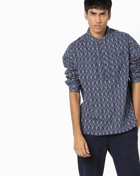 Printed Shirt With Mandarin Collar By AJIO ( Navy )