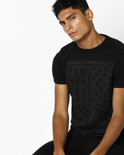 Printed Crew-Neck T-shirt By US POLO ( Black )
