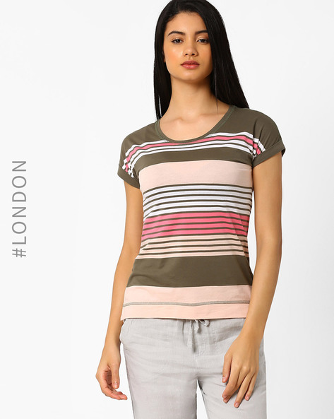 Pure Cotton Slouch Variegated Striped T-shirt By Marks & Spencer ( Khaki )