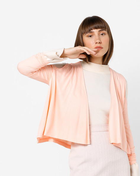 Open-Front Shrug With Full Sleeves By AJIO ( Peach )