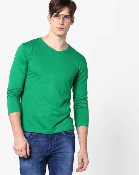 V-neck T-shirt With Full Sleeves By Fort Collins ( Green )